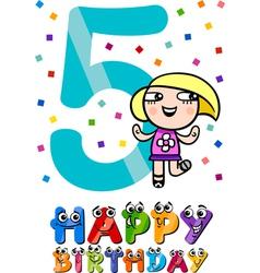 Fifth birthday cartoon design vector