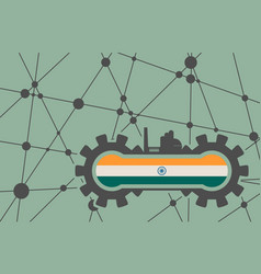 flag of the india build in gear vector image vector image