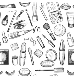 Glamorous make-up seamless pattern vector