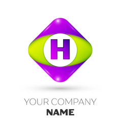 Letter h logo symbol in colorful rhombus vector