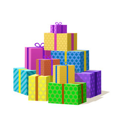 Many gift box mountain of gifts vector
