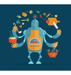 Multitasking robot chef baking and cooking vector image vector image