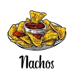 Nachos- mexican traditional food vintage vector image vector image