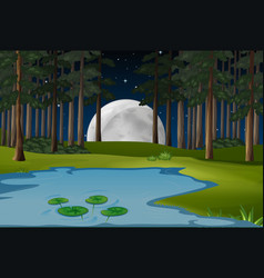 Nature scene with fullmoon and pond in forest vector