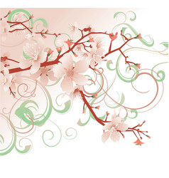 pink blossom spring flowers tree pastel colors vector image vector image