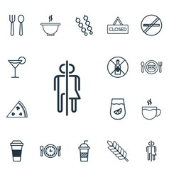 Set of 16 meal icons includes fresh dining vector