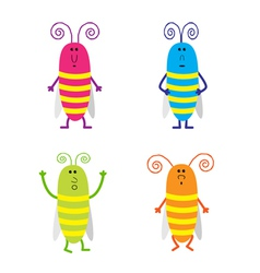 Set of cute cartoon cockroach vector