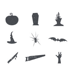 set of halloween silhouette isons vintage hand vector image