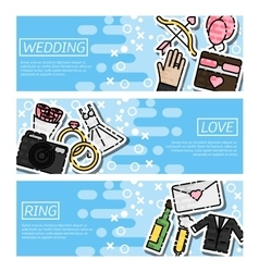 Set of Horizontal Banners about Wedding vector image vector image