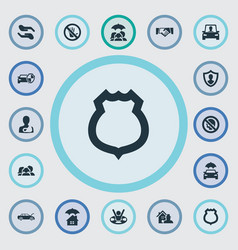 set of simple insurance icons vector image