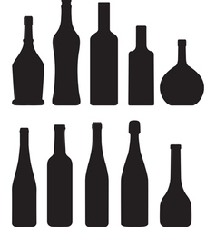 silhouette of bottles vector image vector image