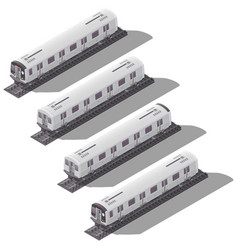 Subway cars isometric icon set vector