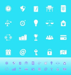 Thinking related color icons on light blue vector image