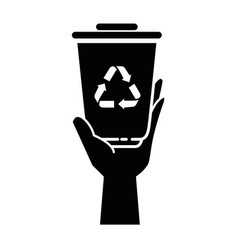 trash bucket with recycle sign icon vector image