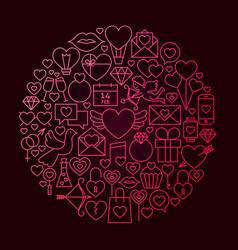 valentine day line icon circle concept vector image