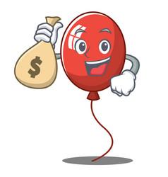 With money bag balloon character cartoon style vector