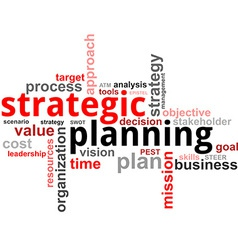 word cloud strategic planning vector image vector image