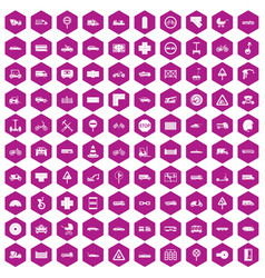 100 road icons hexagon violet vector