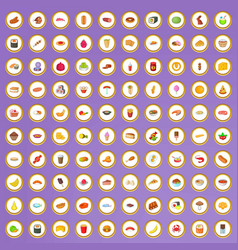 100 tasty food icons set in cartoon style vector image