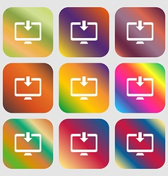 Download load backup icon nine buttons with bright vector