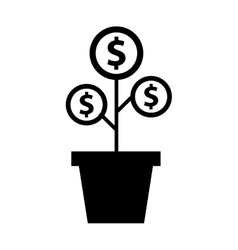 Plant with coins funding icon vector