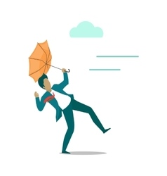 Strong wind Blowing on Man with Umbrella vector image