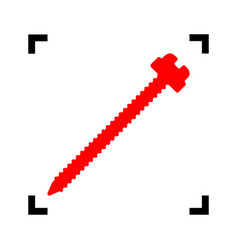screw sign red icon inside vector image