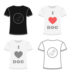 shirt i love dogs icon in cartoon style for vector image