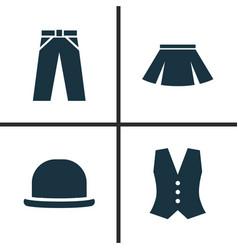 Garment icons set collection of pants panama vector