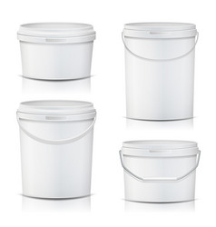 White bucket set container mock up  product vector