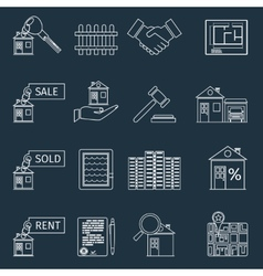 Real estate outline icons vector