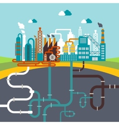 Manufacturing factory or refinery plant vector