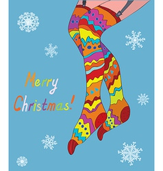 Merry christmas card with girl legs in stockings vector