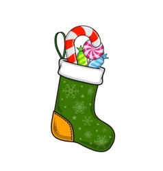 Christmas and new year decorative sock with sweets vector
