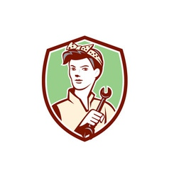 Female mechanic worker holding spanner retro vector