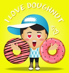 Happy man carrying big strawberry doughnut vector
