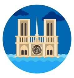 Notre dame cathedral flat vector