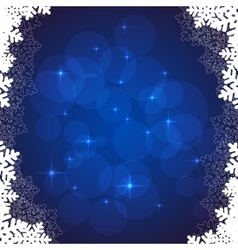 Blue snowflakes frame vector