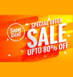 Bright sale background poster in orange color vector