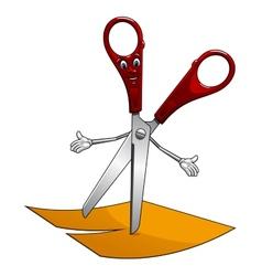 Cartoon scissors cut yellow paper vector