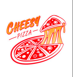 cheesy pizza logo vector image vector image
