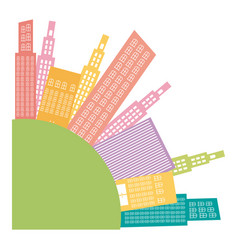 Colors round city builds icon vector
