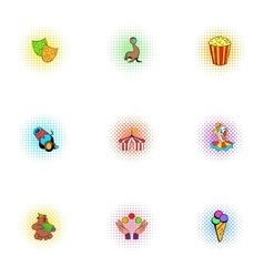 Concert in circus icons set pop-art style vector