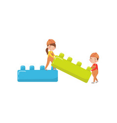 Cute boy and girl playing with buiding toy blocks vector