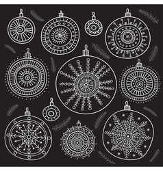 Ethnic christmas baubles set black vector