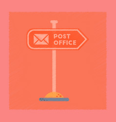 Flat shading style icon sign post office vector