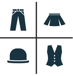 Garment icons set collection of pants panama vector