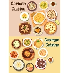 German cuisine dinner icon set for menu design vector