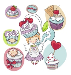 girl with cake on her head isolated set of cupcake vector image