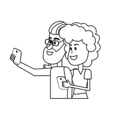 Line beauty couple with hairstyle and smartphone vector